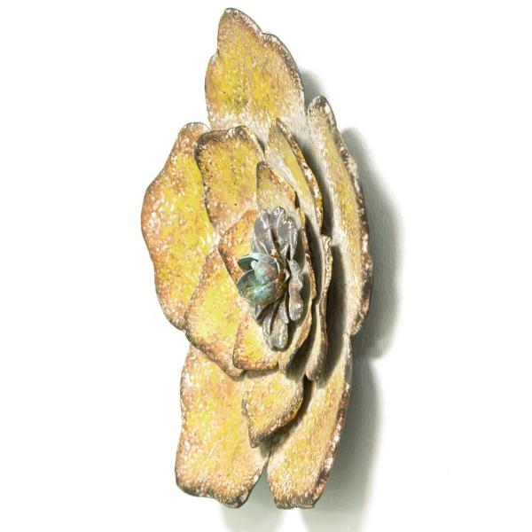 Stratton Home Decor Rustic Metal Flower Wall Decor Set Of 3 S09593 The Home Depot