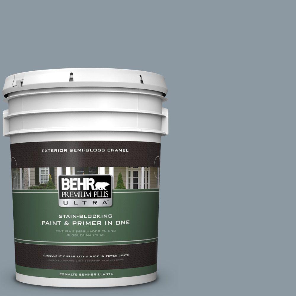 BEHR Premium Plus Ultra 5-gal. #N490-4 Teton Blue Semi-Gl...