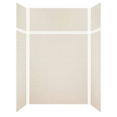 Expressions 36 in. x 60 in. x 96 in. 4-Piece Easy Up Adhesive Alcove Shower Wall Surround in Cameo