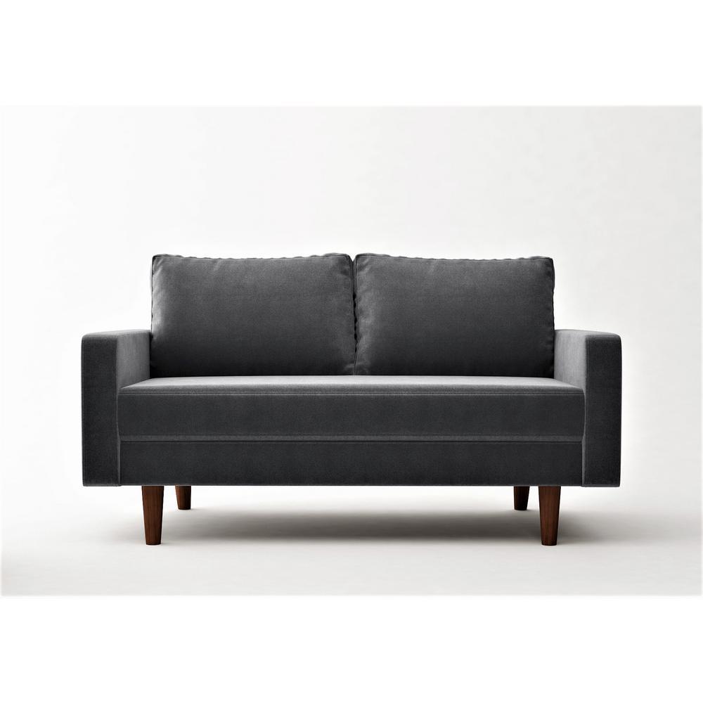 Viva 57.8 in. Grey Velvet 2-Seater Loveseat with Removable Cushions