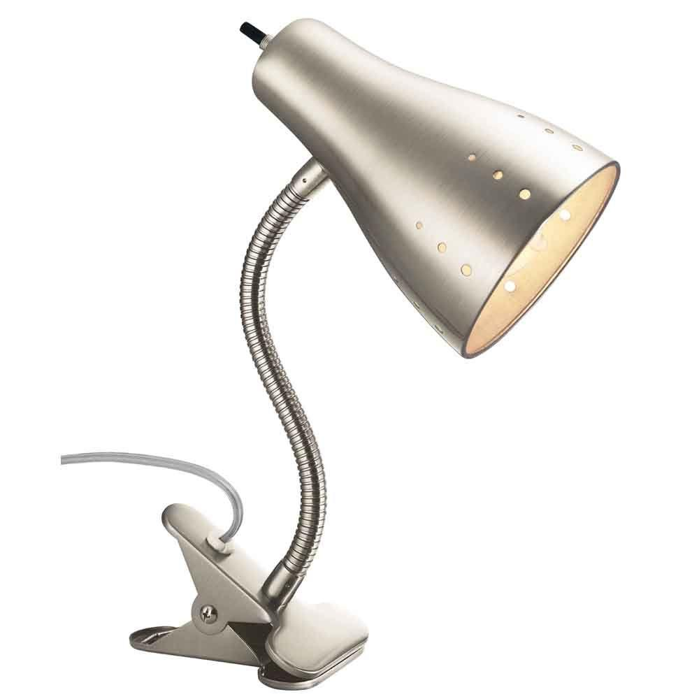 Satin chrome clip lamp