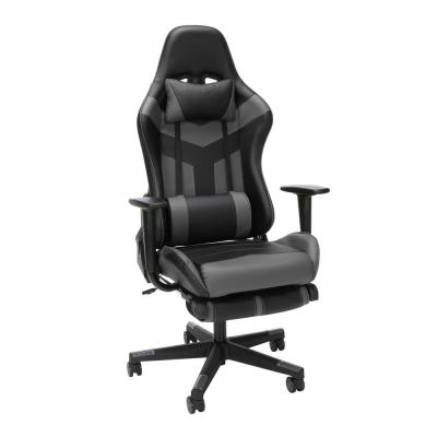 Essentials Collection High Back PU Leather Gaming Chair, with Extendable Footrest, in Grey (ESS-6075FR-GRY)