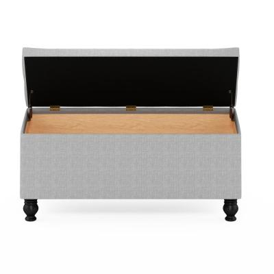Laval 18 in. Glacier (41.93 in. x 17.56 in.) Polyester Button Tufted Storage Ottoman Bench with Bun Legs