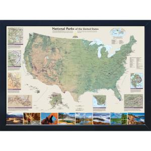 National Geographic Framed Interactive Wall Art Travel Map with Magnets -  USA National Parks
