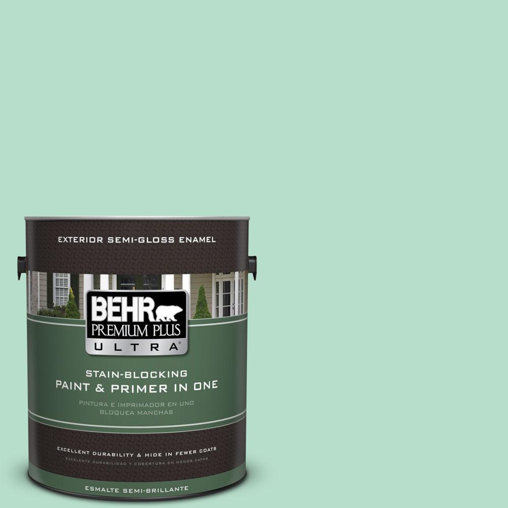 BEHR Premium Plus Ultra 1-gal. #480C-3 Aqua Bay Semi-Gloss Enamel Exterior Paint