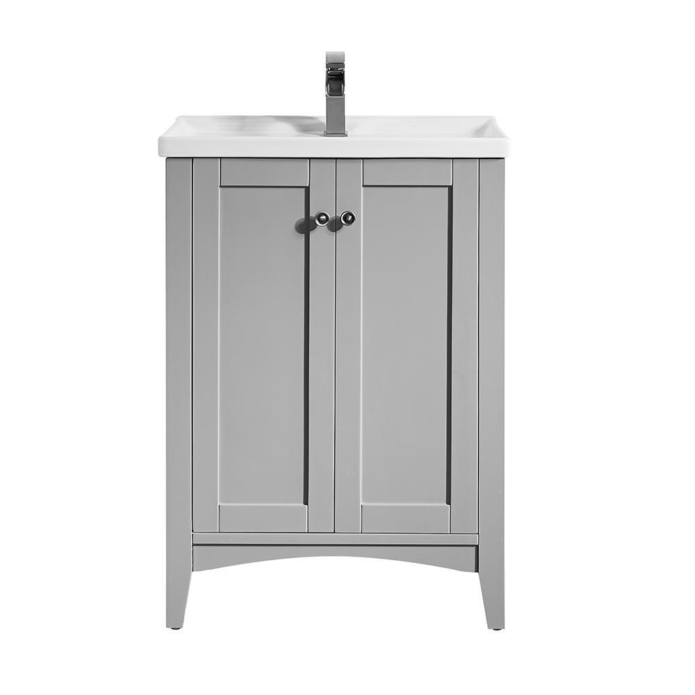 Asti 24 in. W x 18 in. D x 33 in. H Single Basin Vanity in Grey with Ceramic Vanity Top in White