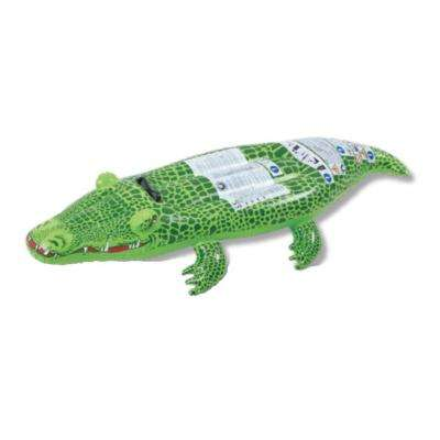 56 in. Spotted Green Crocodile Rider Inflatable Pool Float with Handles