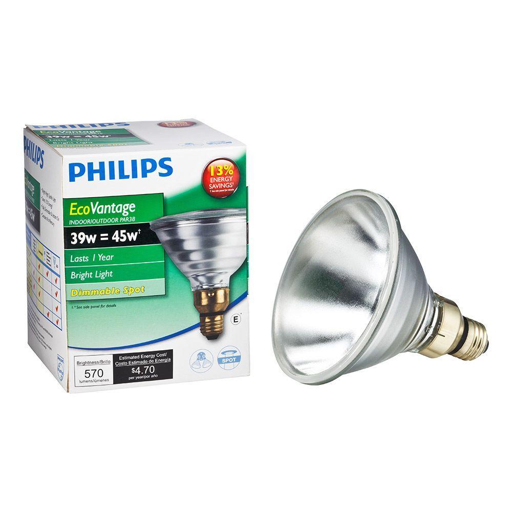 philips 45 watt equivalent halogen par38 indoor outdoor spotlight bulb 419432 the home depot. Black Bedroom Furniture Sets. Home Design Ideas