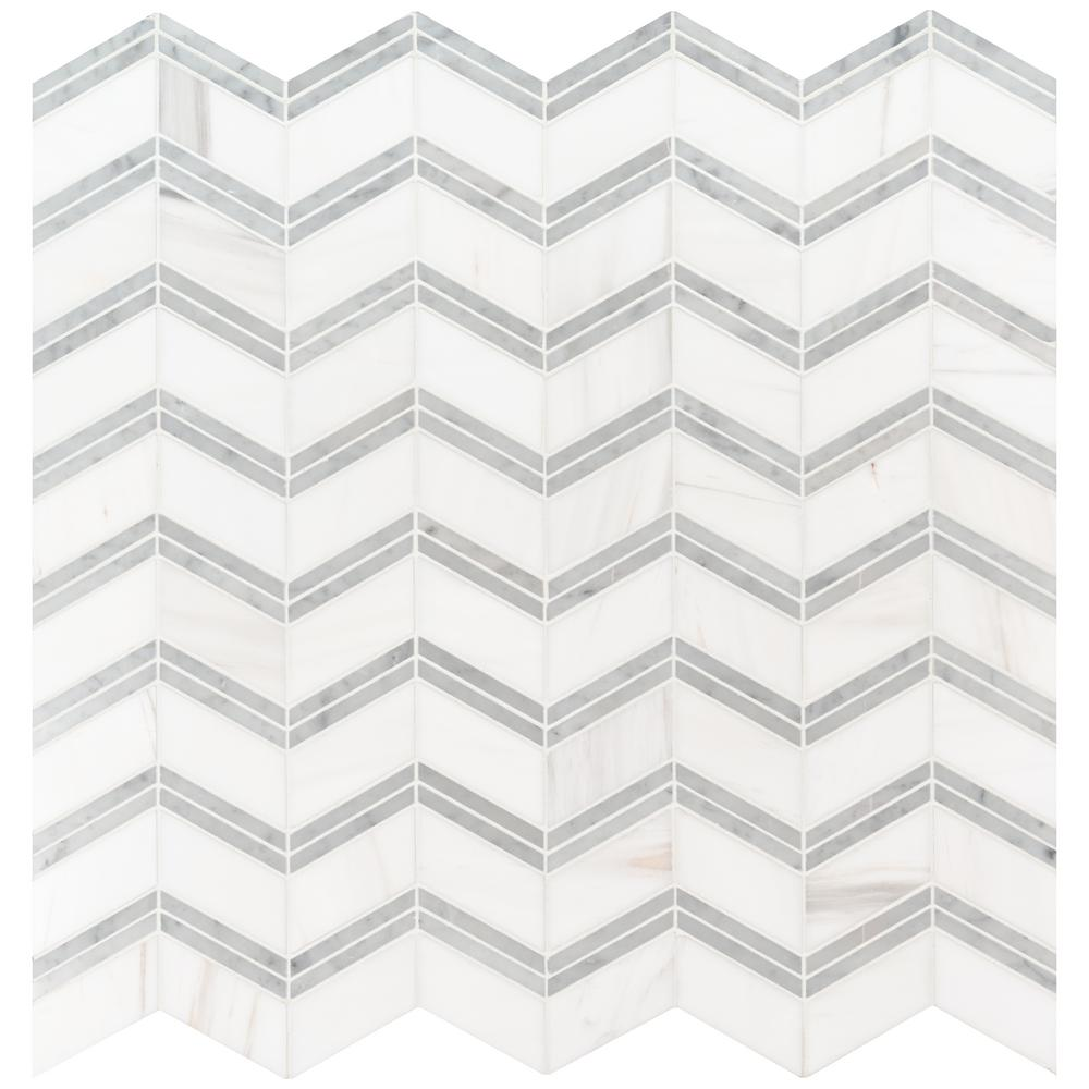 MSI Bianco Dolomite Chevron 12 in. x 12 in. x 10mm Polished Marble Mesh-Mounted Mosaic Tile (10 sq. ft. / case)