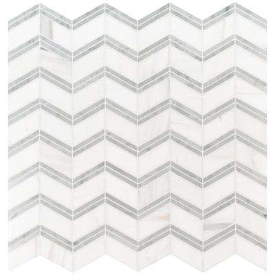 Bianco Dolomite Chevron 12 in. x 12 in. x 10 mm Polished Marble Mesh-Mounted Mosaic Tile (10 sq. ft. / case)