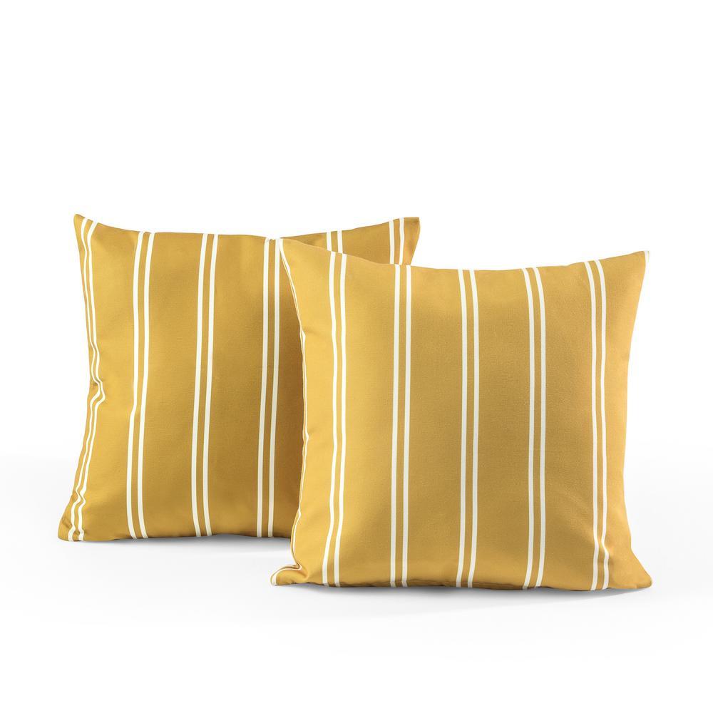 Tecoria Mustard Candy Stripe Outdoor Square Throw Pillow Set