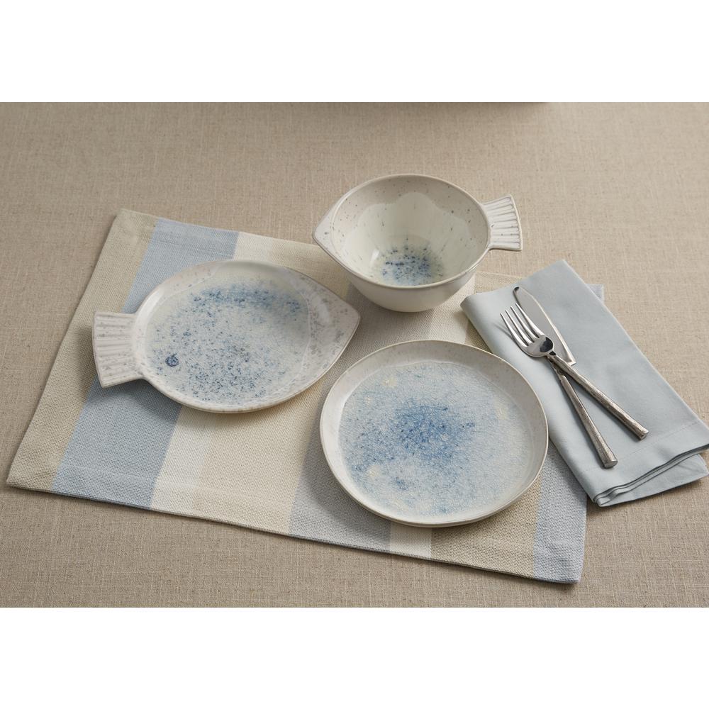 Blue Speckled Fish Plate (Set of 4)