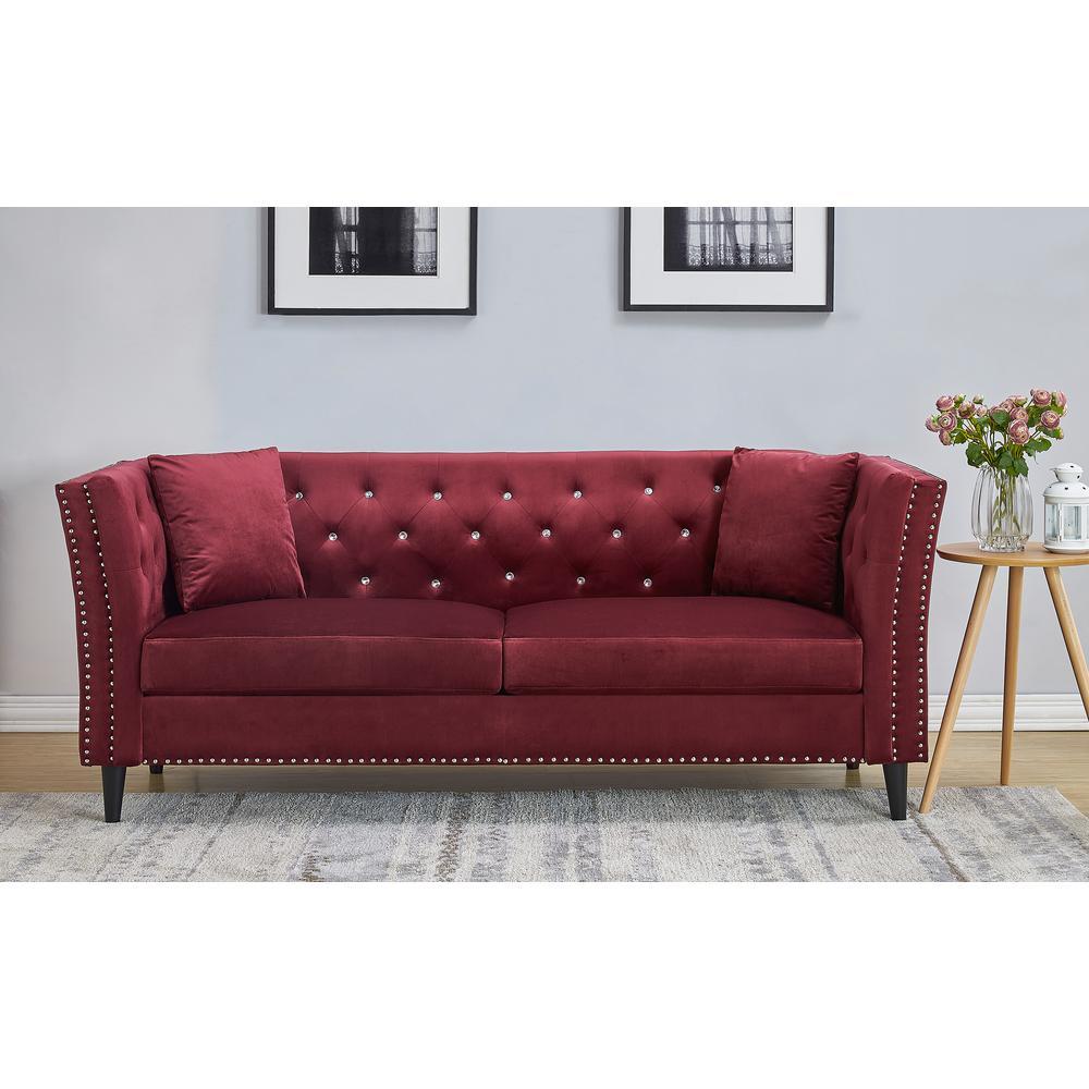 Us Pride Furniture Rivas Velvet Burgundy Sofa S5503 S The Home Depot