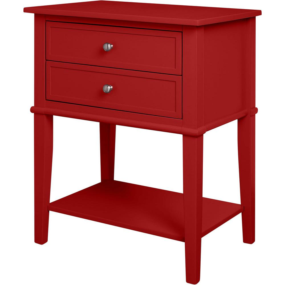 Ameriwood Queensbury Red Accent Table With 2 Drawers