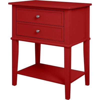 Queensbury Red Accent Table with 2-Drawers