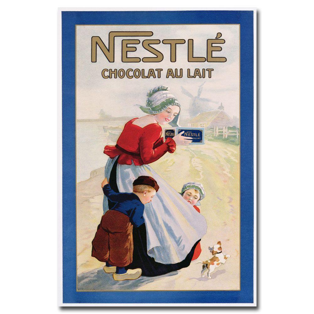 Trademark Fine Art 22 in. x 32 in. Nestle Cocolate au Lait Canvas Art