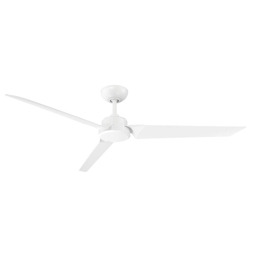 Modern Forms Roboto 62 in. Indoor/Outdoor Matte White 3-Blade Smart Ceiling Fan with Wall Control