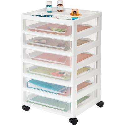 90 Qt. 6 Drawer Scrapbook Cart in White