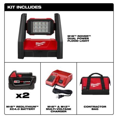 M18 18-Volt Lithium-Ion Cordless 3000-Lumen ROVER LED AC/DC Flood Light with Two 4.0 Ah Batteries, Charger and Bag
