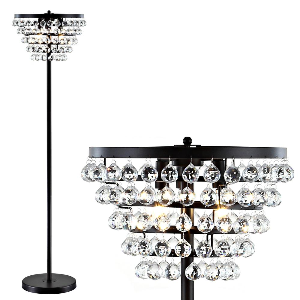 JONATHAN Y Jemma 60 in. Bronze/Clear Crystal/Metal LED Floor Lamp