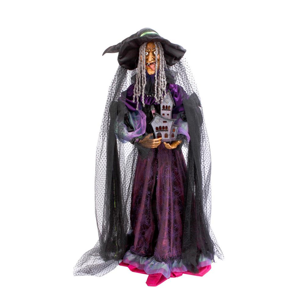 72 in. H Witch Figure Holding Haunted House