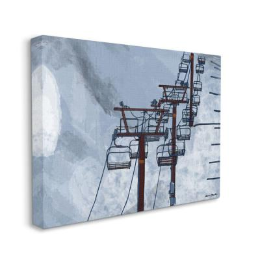 """Ski Lift Blue Sky Painting"" by Karen Dreyfus Canvas Wall Art 24 in. x 30 in."