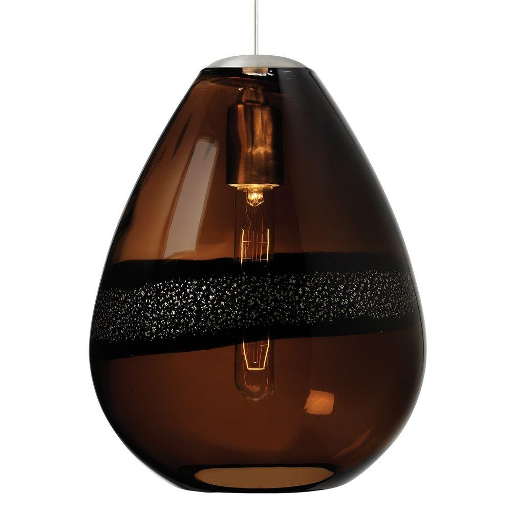 LBL Lighting Miyu Classic 1-Light Satin Nickel Dark Brown Incandescent Hanging Pendant