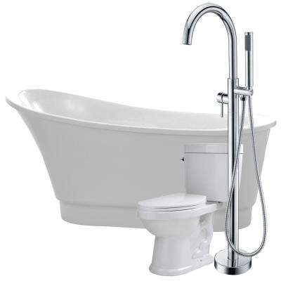 Prima 67 in. Acrylic Flatbottom Non-Whirlpool Bathtub in White with Kros Faucet and Talos 1.6 GPF Toilet