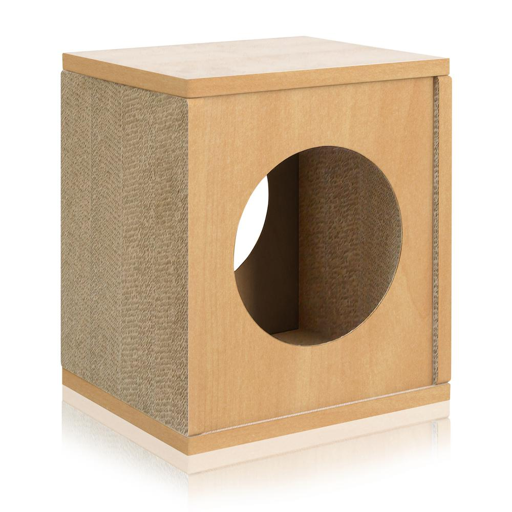 Eco Zboard Natural Cat Scratcher Cube Post And House