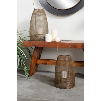 Large Round Bronze Mesh Metal Lantern Candle Holder with Handle