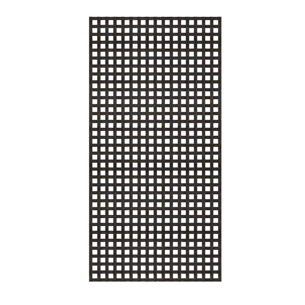 4 ft. x 8 ft. Black Privacy Square Vinyl Lattice - Framed