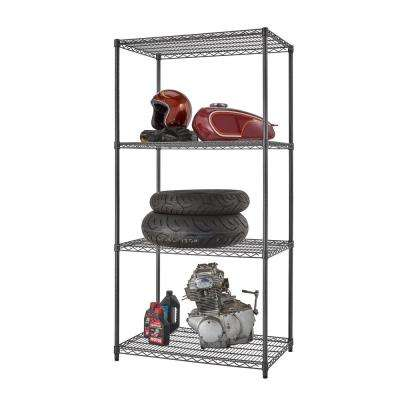 PRO 24 in. x 36 in. x 72 in. Black Anthracite 4 Tier Garage Shelving Unit