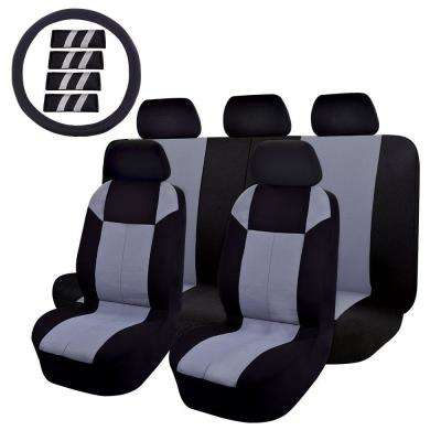 47 in. x 23 in. x 1 in 14PC Car Seat Cover Universal Full Set For Car SUV Truck or Van Grey/Black Steering Wheel Cover,