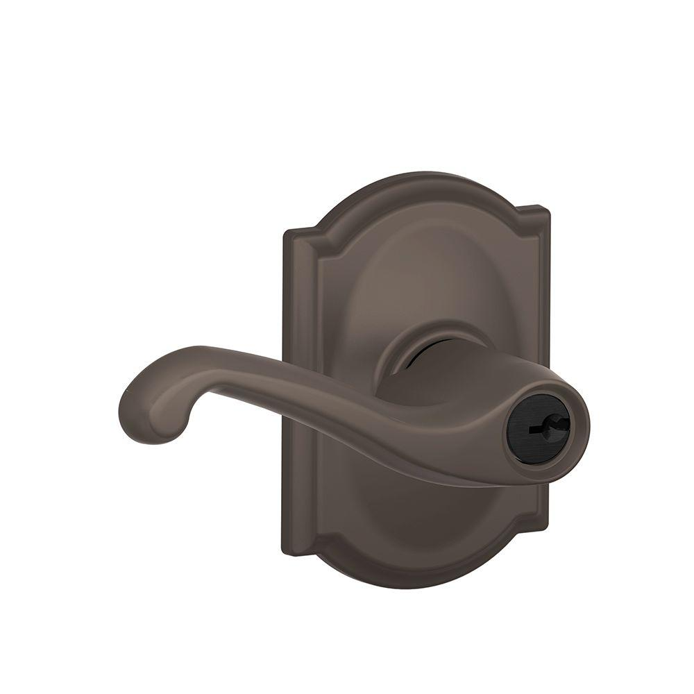 Camelot Collection Oil-Rubbed Bronze Flair Keyed Entry Lever