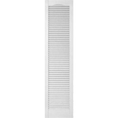 18 in. x 44 in. Lifetime Vinyl Custom Cathedral Top All Open Louvered Shutters Pair Bright White