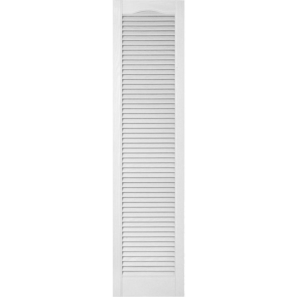 Ekena Millwork 18 in. x 86 in. Lifetime Vinyl Custom Cathedral Top All Louvered Open Louvered Shutters Pair Bright White