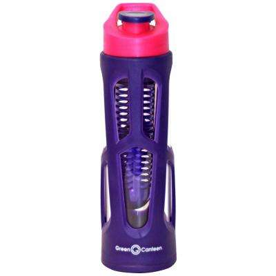 18 oz. Purple Borosilicate Glass Hydration Bottle with Infuser and Plastic Cover (6-Pack)