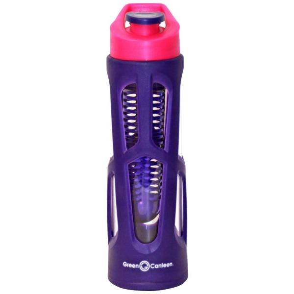 565b93cdc4 Green Canteen 18 oz. Purple Borosilicate Glass Hydration Bottle with  Infuser and Plastic Cover (