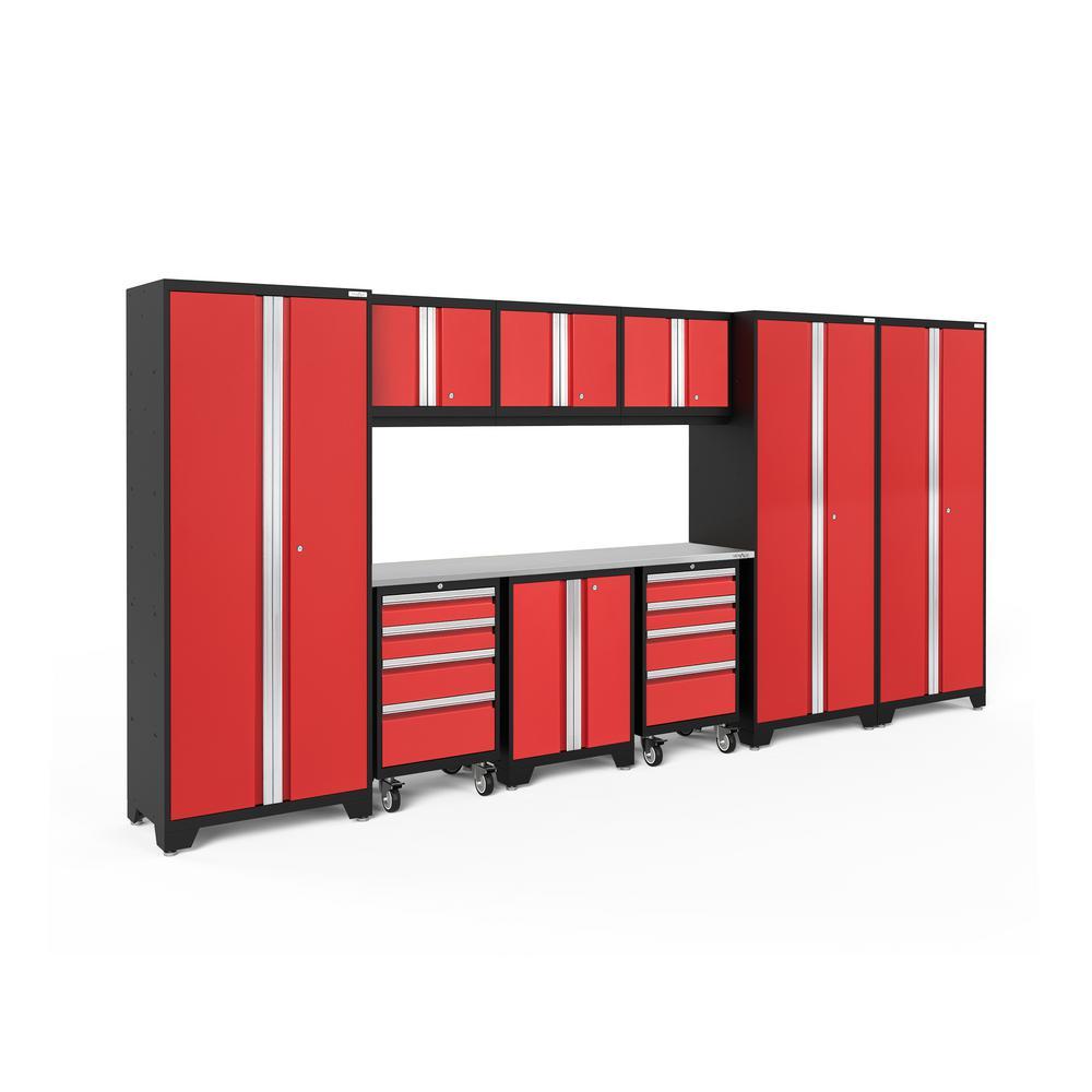 Bold 3.0 162 in. W x 75.25 in. H x 18 in. D 24-Gauge Welded Steel Stainless Steel Worktop Cabinet Set in Red (10-Piece)