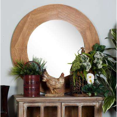 Round Stained Natural Brown Dresser Wall Mirror
