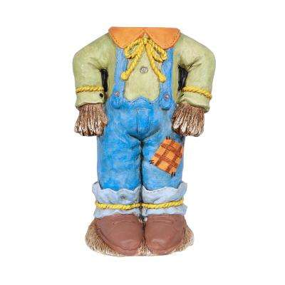 20 in. Halloween Scarecrow Pumpkin Holder with Warm White LED Lights