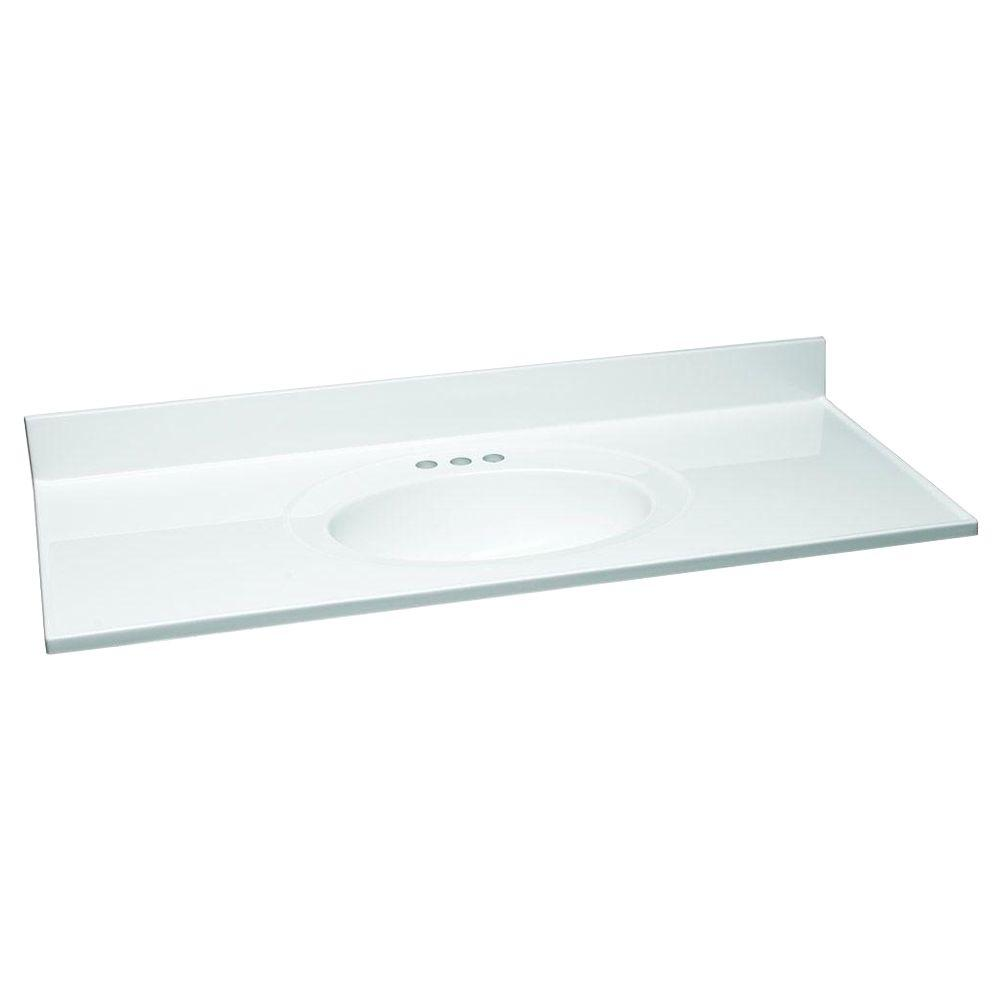 49 in. W Cultured Marble Vanity Top in White with Solid