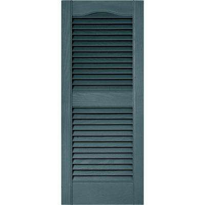 15 in. x 36 in. Louvered Vinyl Exterior Shutters Pair in #004 Wedgewood Blue