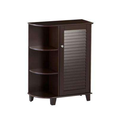 Ellsworth 23-5/8 in. W x 31-1/10 in. H Bathroom Linen Storage Floor Cabinet with Side Shelves in Espresso