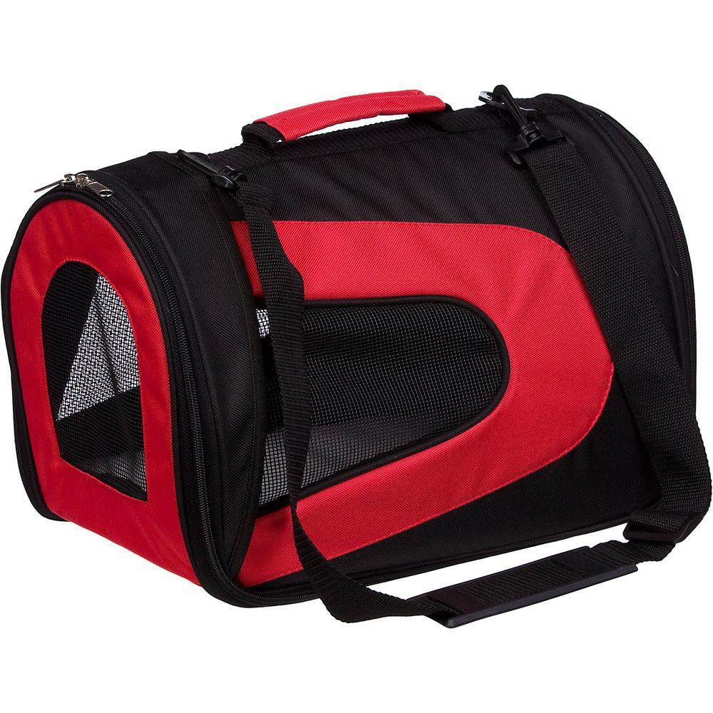 PET LIFE Airline Approved Red and Black Sporty Folding Zippered Mesh Carrier - Medium