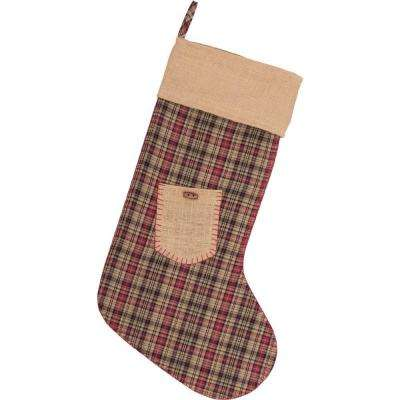 20 in. Cotton/Jute Clement Deep Red Rustic Christmas Decor Pocket Stocking
