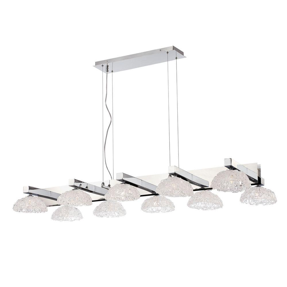 Caramico Collection 10-Light Chrome Chandelier with Crystal Shade