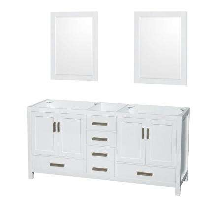 Sheffield 72 in. Double Vanity Cabinet with 24 in. Mirrors in White