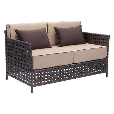 Pinery Wicker Outdoor Patio Sofa in Brown with Beige Cushion