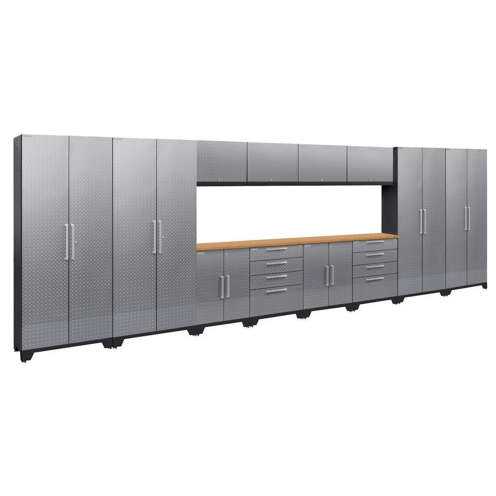 Performance Diamond Plate 2.0 72 in. H x 216 in. W x 18 in. D Garage Cabinet Set in Silver (14-Piece)